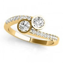 Diamond Pave Accented Bezel Set Two Stone Ring 14k Yellow Gold 1.17ct