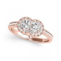 Diamond Double Halo Two Stone Ring 14k Rose Gold (0.50ct)