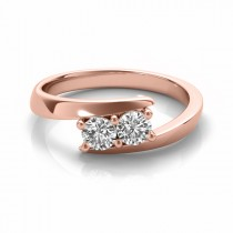 Diamond Solitaire Tension Two Stone Ring 18k Rose Gold (0.50ct)