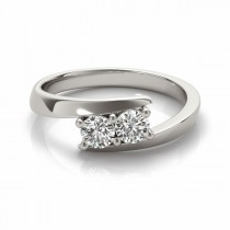 Diamond Solitaire Tension Two Stone Ring 18k White Gold (0.50ct)