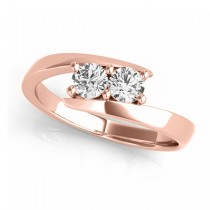Diamond Solitaire Tension Two Stone Ring 18k Rose Gold (0.12ct)