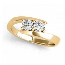 Diamond Solitaire Tension Two Stone Ring 18k Yellow Gold (0.12ct)