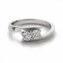 Diamond Solitaire Tension Two Stone Ring Palladium (0.12ct)