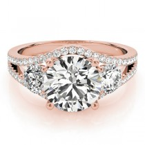 Diamond Split Shank Three Stone Engagement Ring 14k Rose Gold (2.72ct)