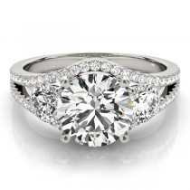 Diamond Split Shank Three Stone Engagement Ring 14k White Gold (2.72ct)