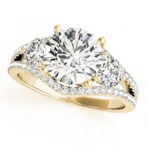 Diamond Split Shank Three Stone Engagement Ring 14k Yellow Gold (2.72ct)
