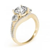 Diamond Split Shank Three Stone Engagement Ring 14k Yellow Gold (2.72ct)