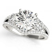 Diamond Split Shank Three Stone Engagement Ring 18k White Gold (2.72ct)