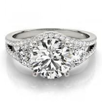 Diamond Split Shank Three Stone Engagement Ring Palladium (2.72ct)