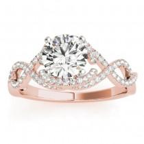 Diamond Infinity Engagement Ring Setting 14k Rose Gold (0.22ct)
