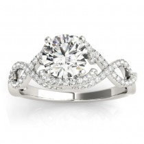 Diamond Infinity Engagement Ring Setting 14k White Gold (0.22ct)