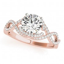 Diamond Twisted Infinity Engagement Ring 14k Rose Gold (1.22ct)