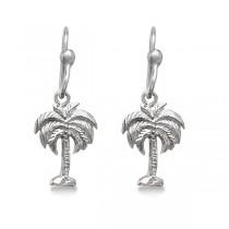 Dangling Drop Palm Tree Earrings Sterling Silver