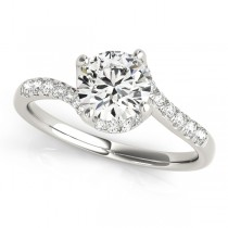Diamond Twisted Engagement Ring 14k White Gold (1.00ct)