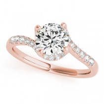 Diamond Twisted Engagement Ring 18k Rose Gold (1.00ct)