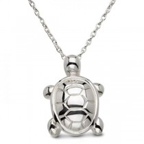 Women's Carved Sea Turtle Pendant Set in 925 Sterling Silver
