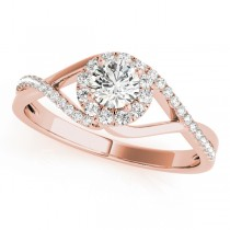 Diamond Halo Twisted Shank Engagement Ring 18k Rose Gold (0.41ct)