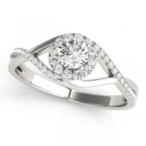 Diamond Halo Twisted Shank Engagement Ring 18k White Gold (0.41ct)