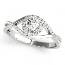 Diamond Halo Twisted Shank Engagement Ring 18k White Gold (0.41ct)