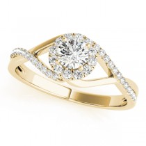 Diamond Halo Twisted Shank Engagement Ring 18k Yellow Gold (0.41ct)