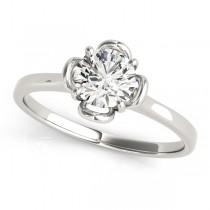 Diamond Solitaire Clover Engagement Ring 14k White Gold (0.33ct)