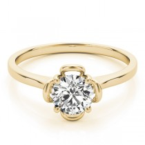 Diamond Solitaire Clover Engagement Ring 14k Yellow Gold (0.33ct)