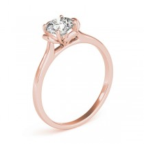 Diamond Solitaire Clover Engagement Ring 18k Rose Gold (0.33ct)