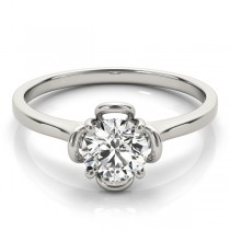 Diamond Solitaire Clover Engagement Ring 18k White Gold (0.33ct)