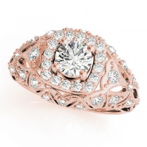 Antique Style Diamond Halo Engagement Ring 14k Rose Gold (0.94ct)