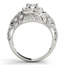Antique Style Diamond Halo Engagement Ring 14k White Gold (0.94ct)