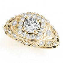Antique Style Diamond Halo Engagement Ring 18k Yellow Gold (0.94ct)