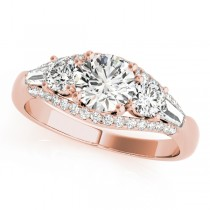 Multi-Stone Baguette Diamond Engagement Ring 14k Rose Gold (1.38ct)