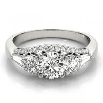 Multi-Stone Baguette Baguette Diamond Engagement Ring 14k White Gold (1.38ct)