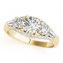 Multi-Stone Baguette Diamond Engagement Ring 14k Yellow Gold (1.38ct)
