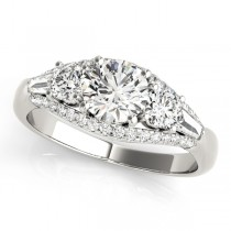 Multi-Stone Baguette Diamond Engagement Ring 18k White Gold (1.38ct)