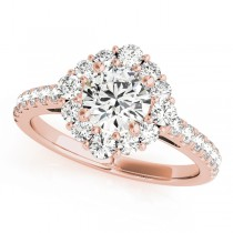 Diamond Halo East West Engagement Ring 14k Rose Gold (1.32ct)