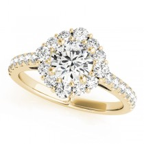 Diamond Halo East West Engagement Ring 14k Yellow Gold (1.32ct)
