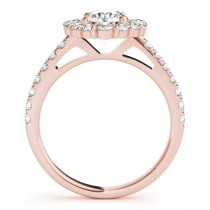 Diamond Halo East West Engagement Ring 18k Rose Gold (1.32ct)