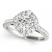 Diamond Halo East West Engagement Ring 18k White Gold (1.32ct)
