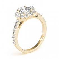 Diamond Halo East West Engagement Ring 18k Yellow Gold (1.32ct)
