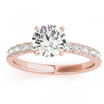 Diamond Single Row Engagement Ring Setting 14k Rose Gold (0.32ct)