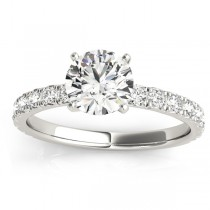 Diamond Single Row Engagement Ring Setting 14k White Gold (0.32ct)