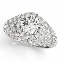 Wide DIamond Halo Fancy Engagement Ring 18k White Gold (2.66ct)