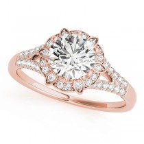Diamond Halo Floral Split Shank Engagement Ring 14k Rose Gold (0.96ct)