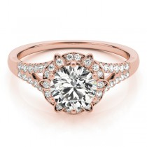 Diamond Halo Floral Split Shank Engagement Ring 14k Rose Gold (0.96ct)