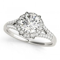 Diamond Halo Floral Split Shank Engagement Ring 14k White Gold (0.96ct)