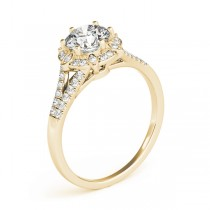 Diamond Halo Floral Split Shank Engagement Ring 14k Yellow Gold (0.96ct)