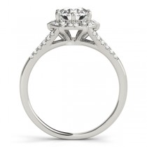 Diamond Halo Floral Split Shank Engagement Ring 18k White Gold (0.96ct)
