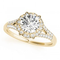 Diamond Halo Floral Split Shank Engagement Ring 18k Yellow Gold (0.96ct)