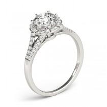 Diamond Halo Floral Split Shank Engagement Ring Palladium (0.96ct)